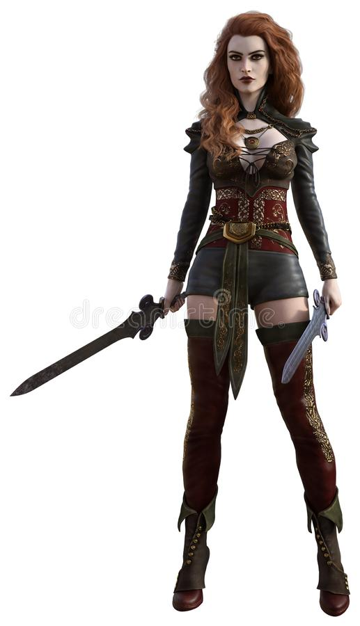 Female warrior with red hair. 3D render of a female warrior with red hair, holding two swords in her hands royalty free illustration