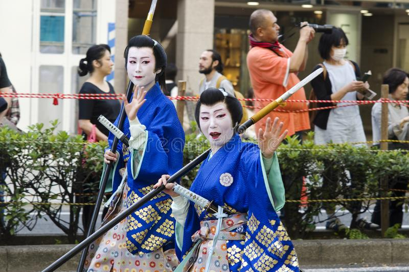 Female warriors at Nagoya Festival, Japan. Women in traditional costumes like a warriors at 62nd Nagoya Festival, Japan stock photo