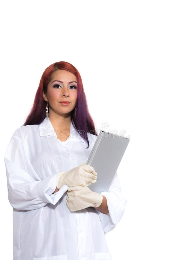 Female Wearing Lab Coat While Holding Clipboard stock image