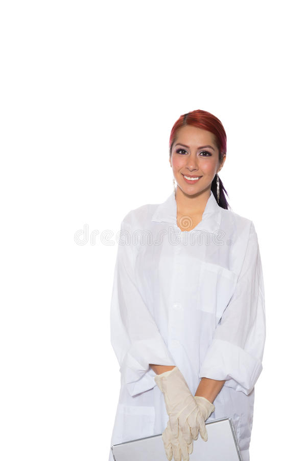 Female Wearing Lab Coat While Holding Clipboard stock images