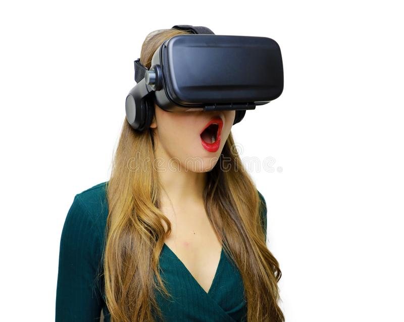 Female wearing Virtual Reality Headset with Mouth Open royalty free stock image