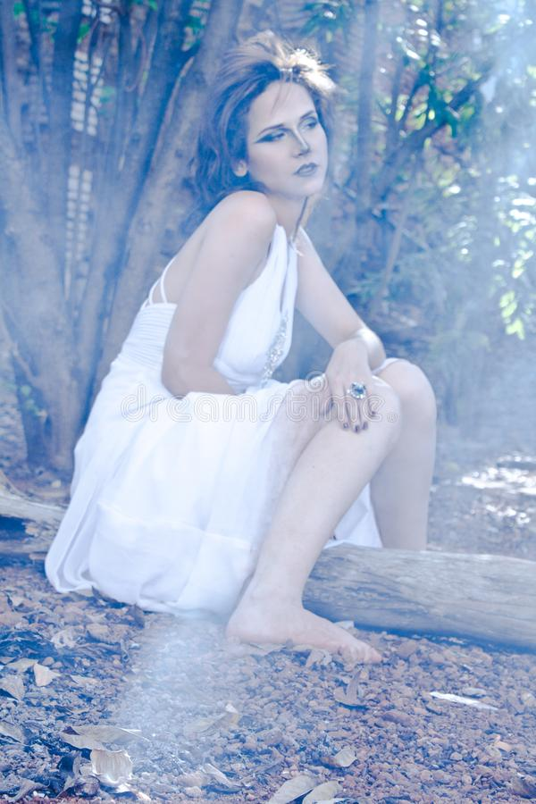 Female Wearing White Dress Photography stock photography
