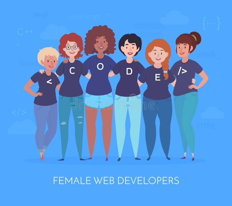 Female web developers are hugging. Team in t-shirts with code lettering. Vector illustration in a flat style. vector illustration