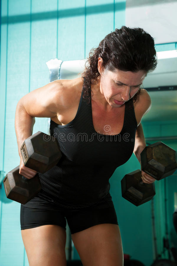 Female Weightlifter Bent Over Rows stock images