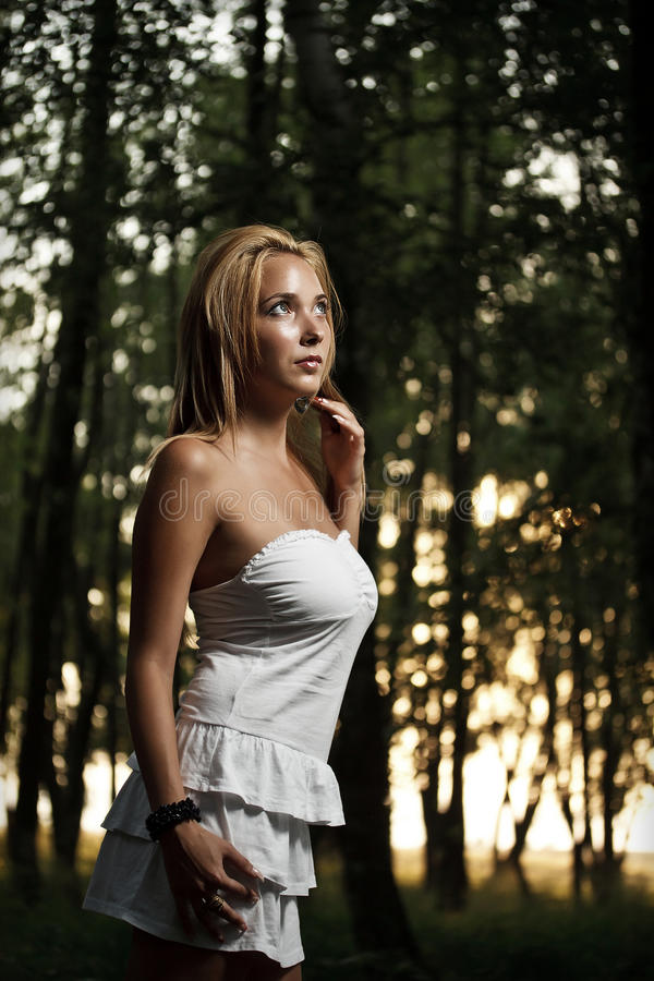 Female with white dress stock image