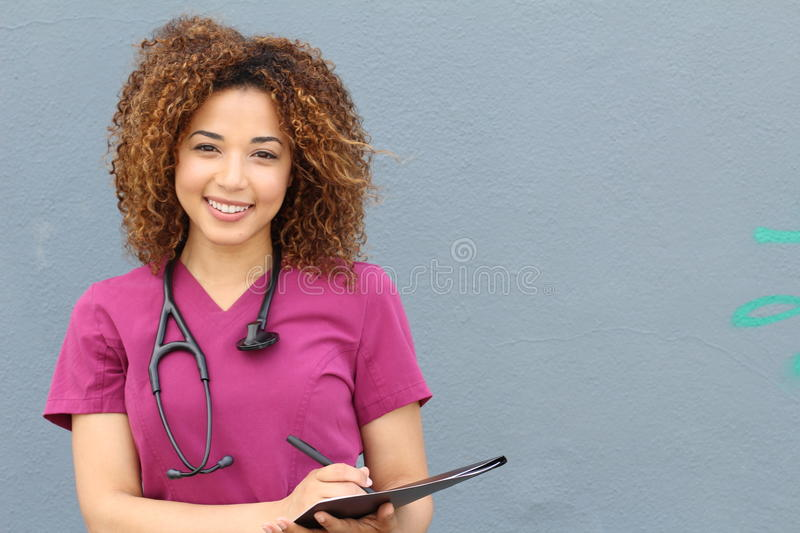 Female who is going to nursing school stock image