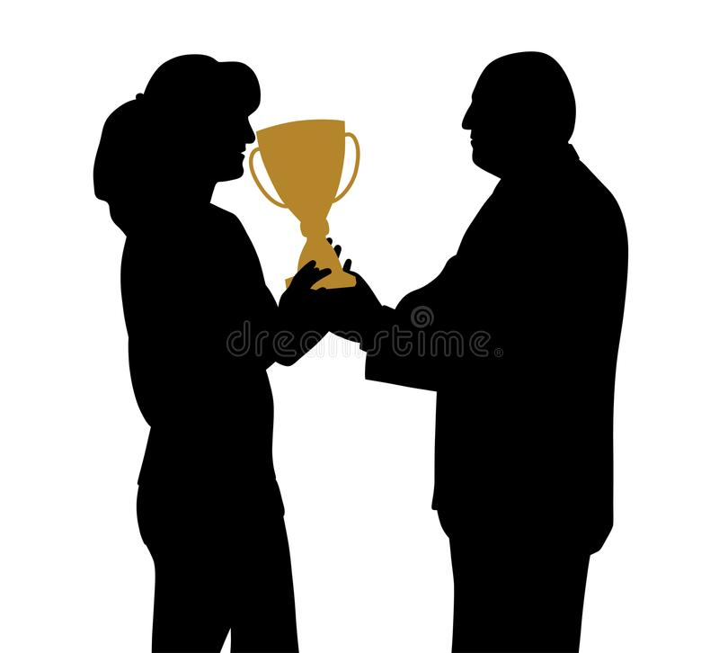 Female winner receiving trophy from president director or sponsor vector illustration