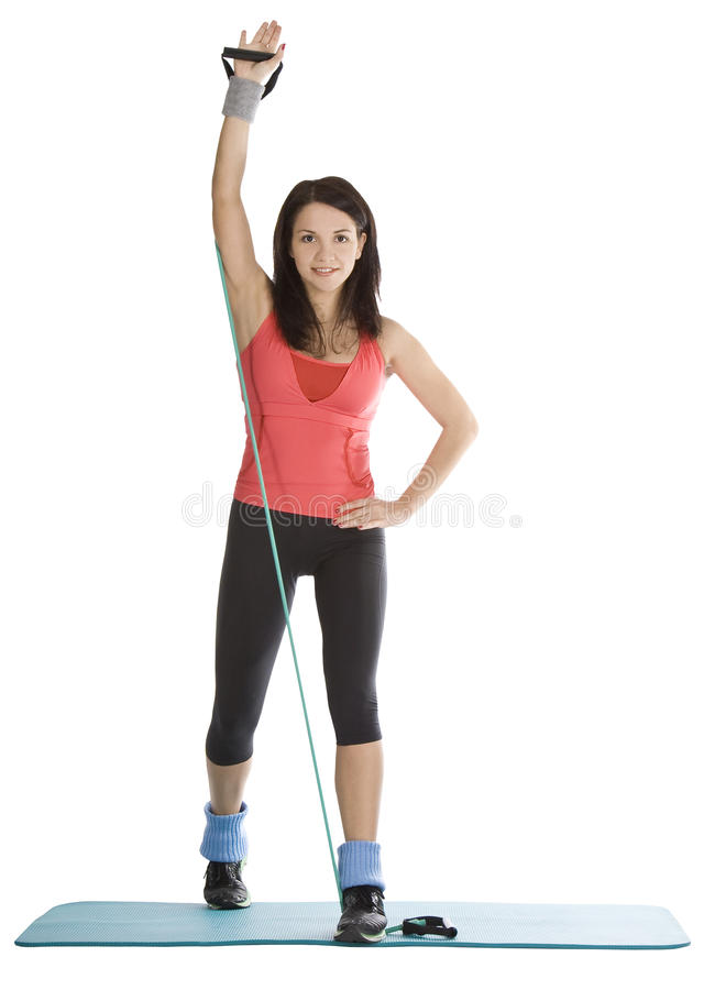 Free Female With Fitness Expander In Stretching Stock Image - 18564901