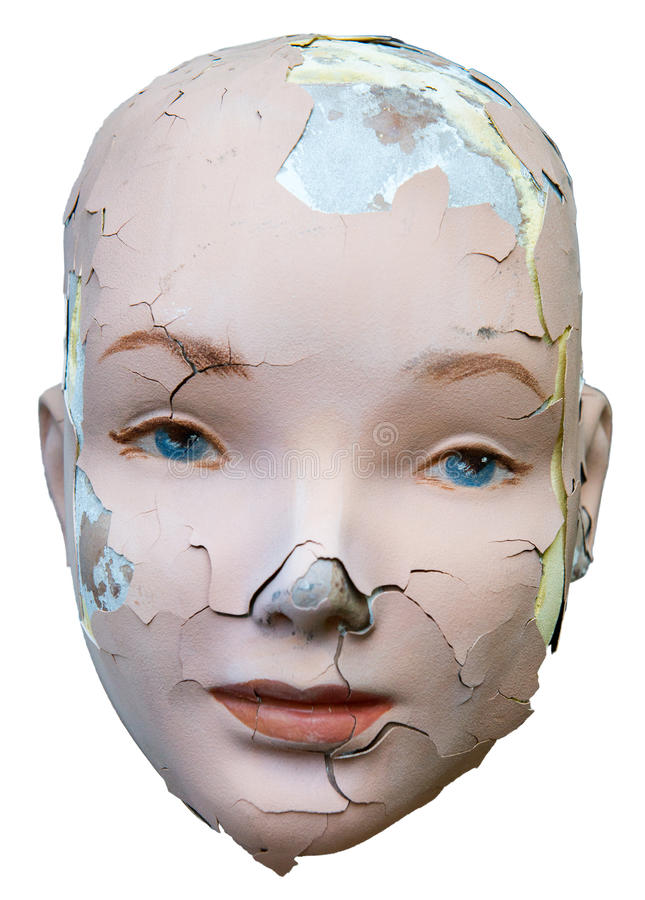 Female Woman Cracked Face Isolated stock photography
