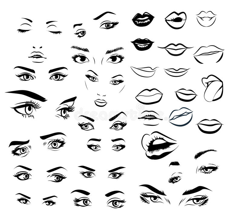 Female woman eyes and lips image collection set. Fashion girl eyes design. Vector illustration. vector illustration