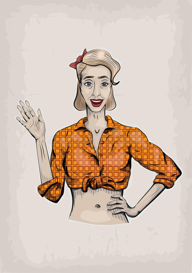 Female woman girl lady waving hand raised beautiful young, white vector illustration