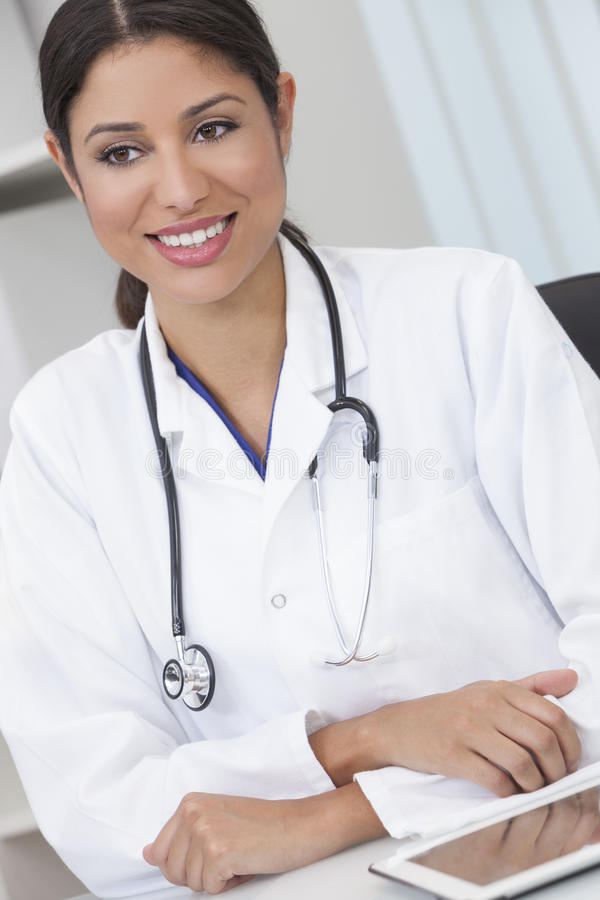 Female Woman Hospital Doctor Using Tablet Computer stock image