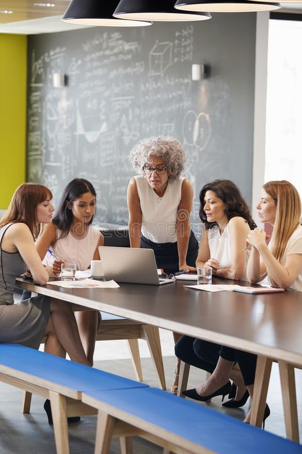Female work colleagues using laptop computer in a meeting royalty free stock photos