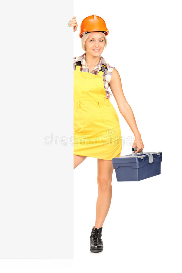 Download Female Worker Holding A Tool Box And Posing Stock Image - Image: 27610345