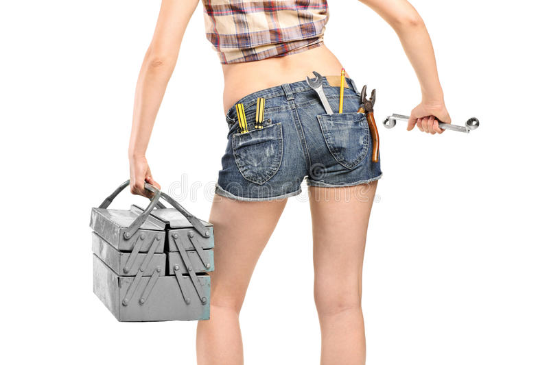 Download Female Worker Holding A Wrench And Tool Box Royalty Free Stock Images - Image: 20053469