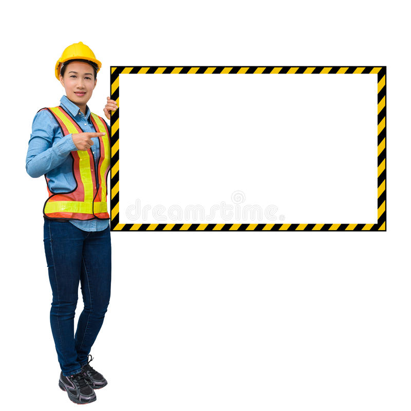 Female worker with Protection Equipment, posing side of big whit stock images