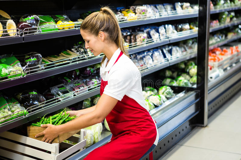Female worker putting vegetable box in shelf stock photos
