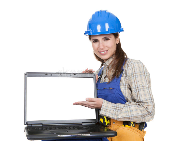 Female Worker Showing Laptop. Portrait Of Female Worker Pointing On Laptop stock photos