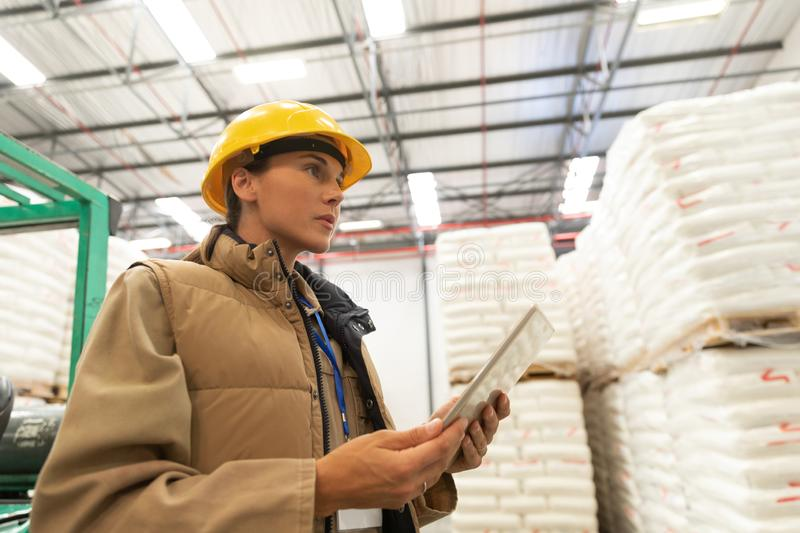 Female worker using digital tablet in warehouse. Low angle view of female worker using digital tablet in warehouse. This is a freight transportation and stock photos