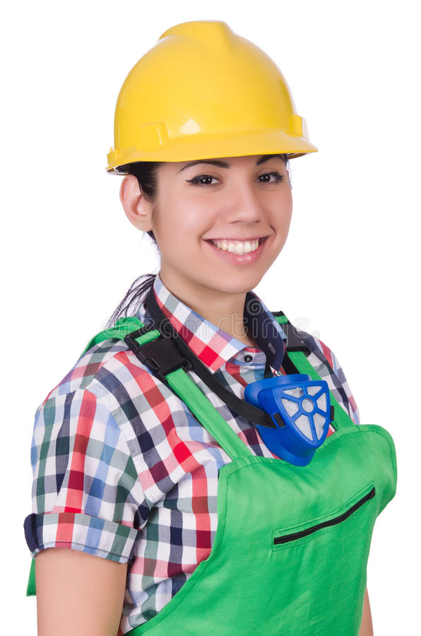Female worker wearing helmet isolated on white stock photography