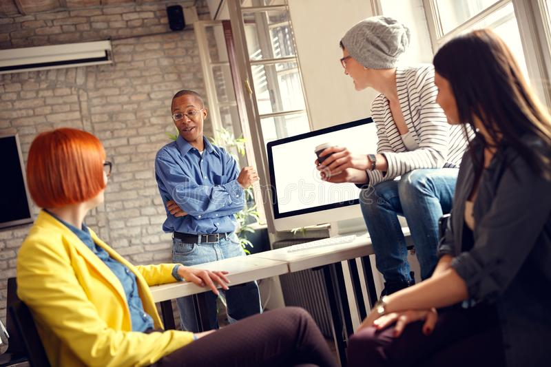 Female working group talking with manager stock photos