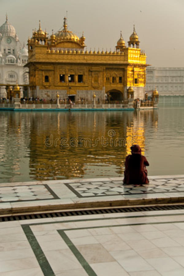 Female worshipper at the Golden Temple stock photo
