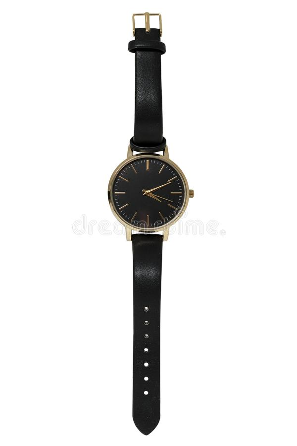 Female wrist watch in gold case and black leather strap stock photography