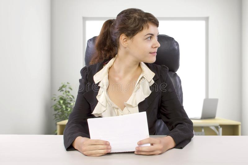 Female Writer Intern in an Office stock photo