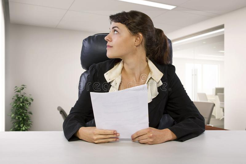 Female Writer Intern in an Office royalty free stock photo