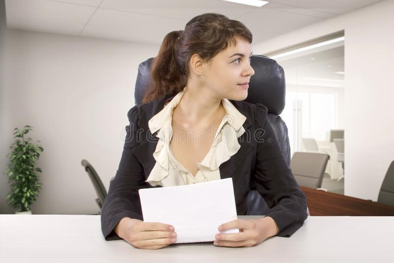 Female Writer Intern in an Office stock photos