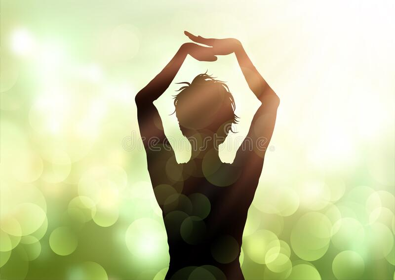 Female in yoga pose against bokeh lights background royalty free stock photo