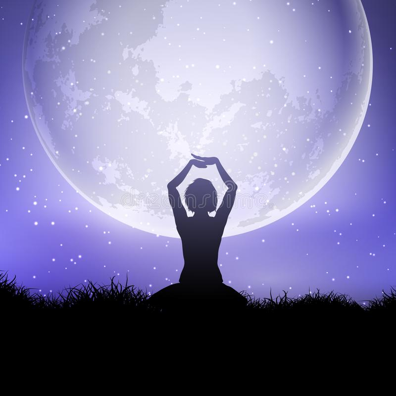 Female in yoga pose against a moonlit sky vector illustration