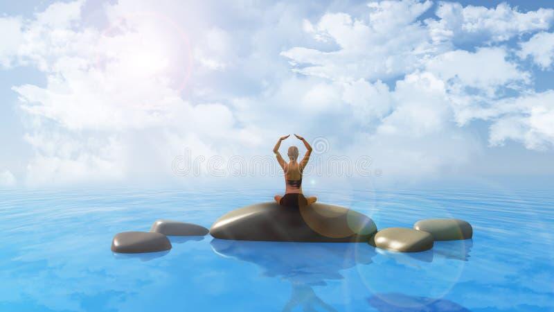 Female in yoga position in ocean vector illustration