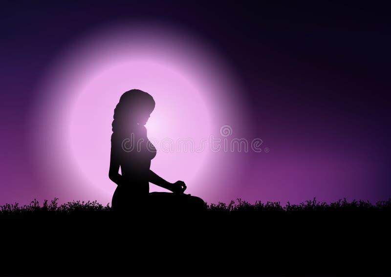 Female in yoga position in sunset sky vector illustration