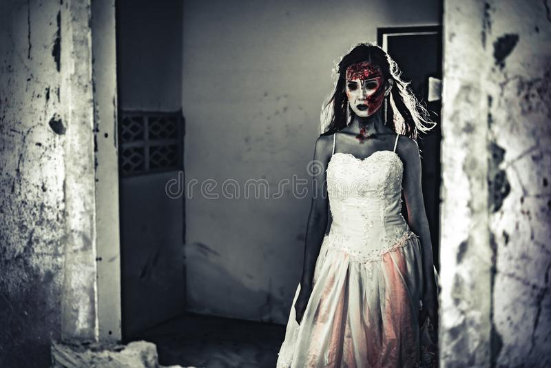 Female zombie corpse standing in front of grunge wall in abandoned house. Horror and Ghost concept. Halloween day festival and. Scary movie theme. Haunted house stock image