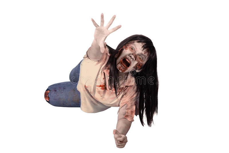 Female zombie crouching on the floor. Isolated over white background stock images