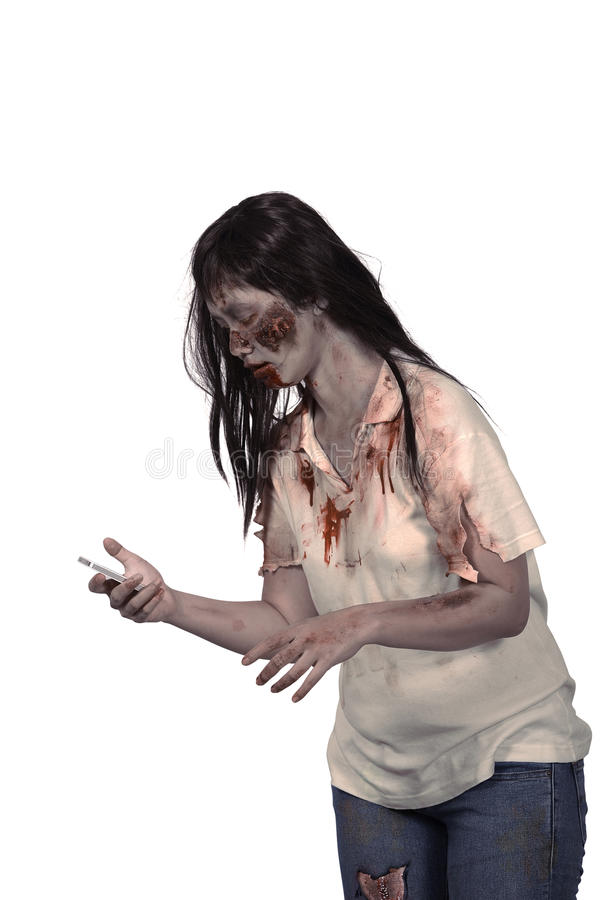 Female zombie holding cellphone. Isolated over white background stock photos