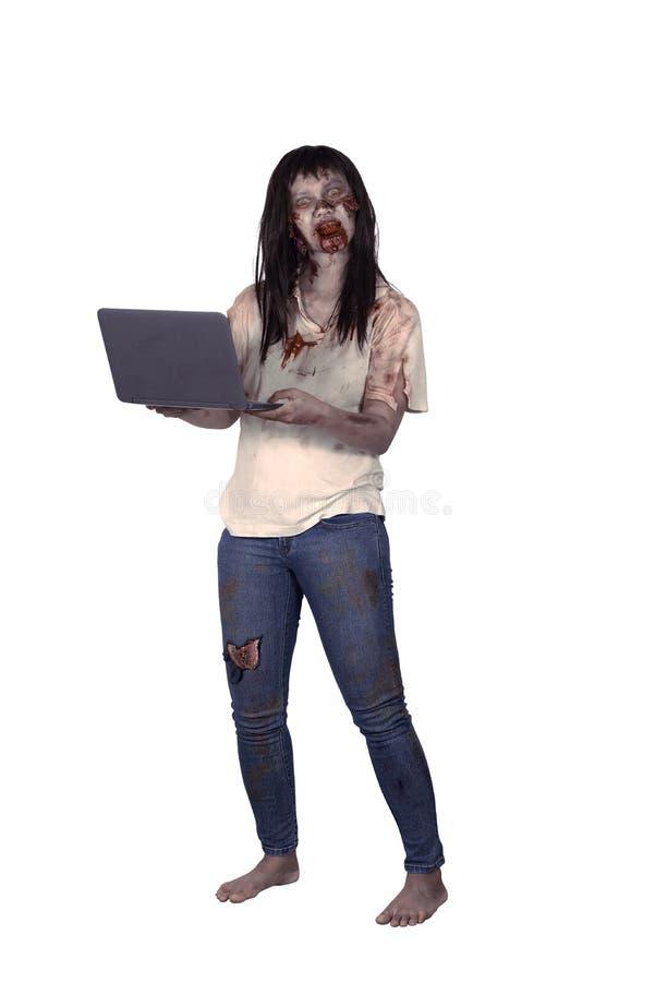 Female zombie holding laptop. Isolated over white background stock image