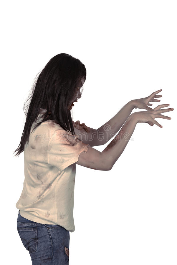 Female zombie isolated over white background. Halloween concept royalty free stock photos