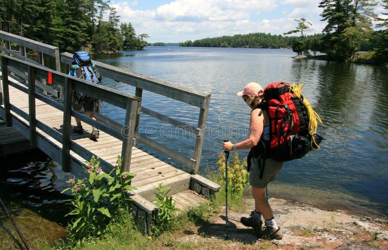 Females Backpacking Across Bridge royalty free stock image