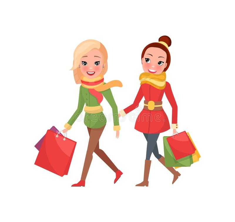 Females with Packages Full of Present Buying Gifts. Females with packages full of present, buying gifts to nearest. Happy women on shopping vector isolated vector illustration