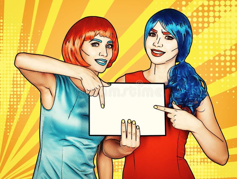 Females with paper in hands. Portrait of young women in comic pop art make-up style stock photo