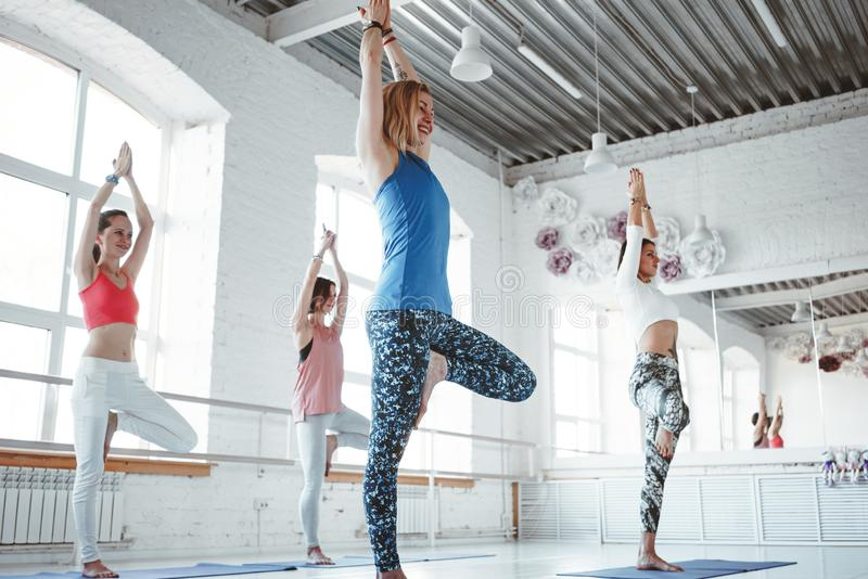 Females traning together yoga poses in white gym. Group of women practice exercise together indoor class. Healthy lifestyle concept. Females traning together stock image