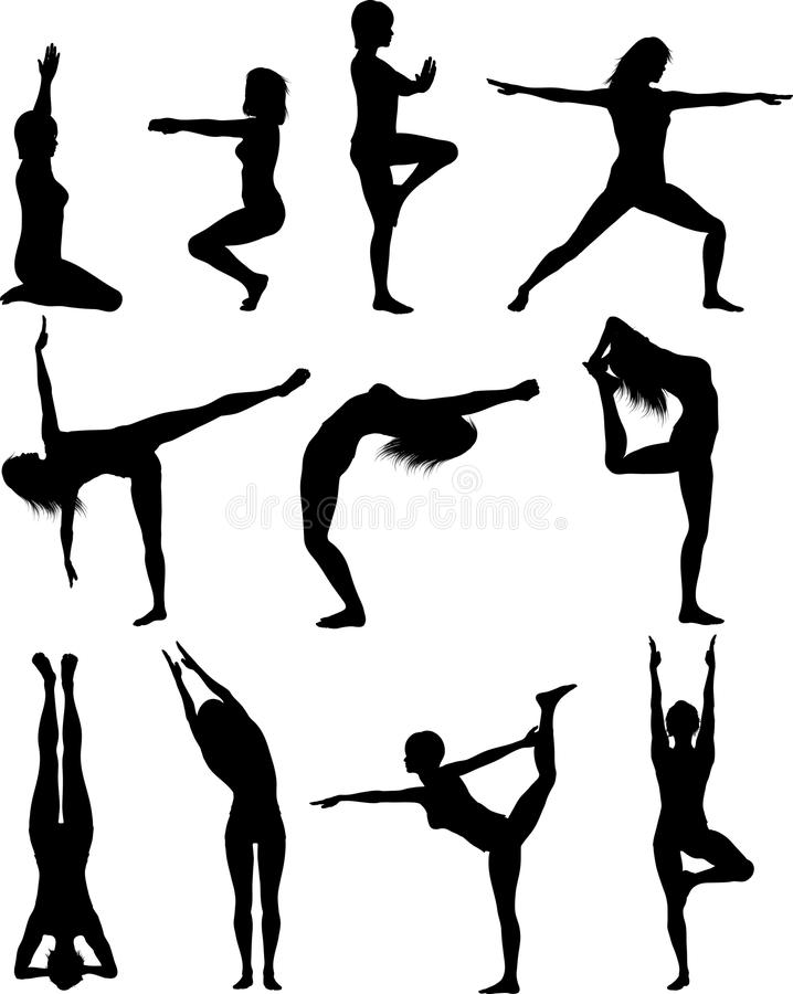 Females in yoga poses. Silhouette of females in various yoga poses stock illustration