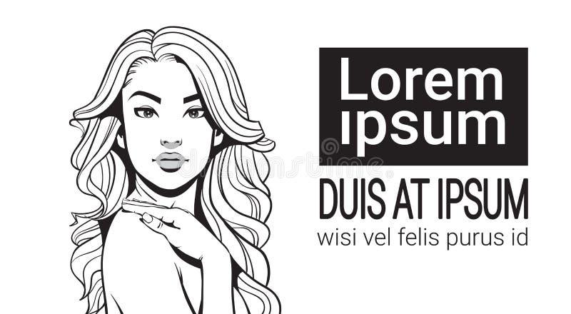 Femelle attirante de belle femme de croquis de portrait avec de longs cheveux au-dessus du fond blanc avec l'espace de copie illustration libre de droits