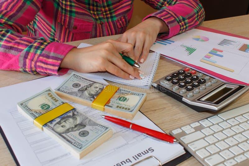 Femelle avec le plan d'action, la calculatrice, le billet de banque du dollar, le spreadshee et le stylo sur la table images stock