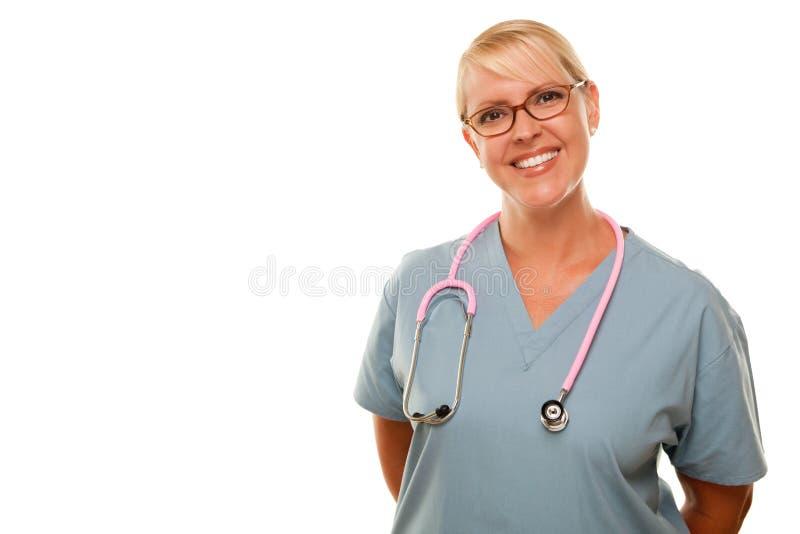 femelle blonde de docteur amicale photo stock