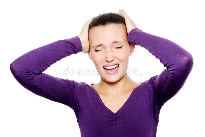 Femelle bouleversée avec le mal de tête intense images stock