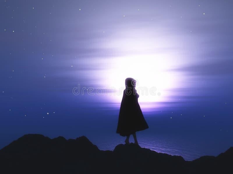 femelle 3D dans le manteau contre un ciel nocturne étoilé illustration de vecteur