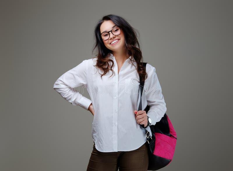 Femelle de brune avec un sac rose de voyageur image stock